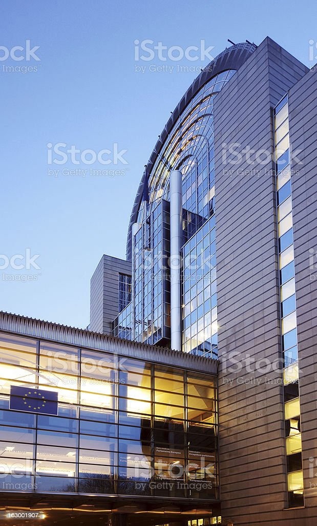 European Parliament building in Brussels (Bruxelles), Belgium, by night royalty-free stock photo