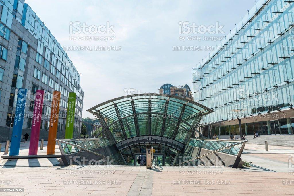 European Parliament building in Brussels, Belgium stock photo