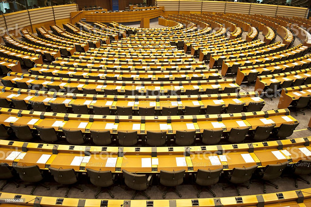 European Parliament Empty Assembly Room Brussels stock photo