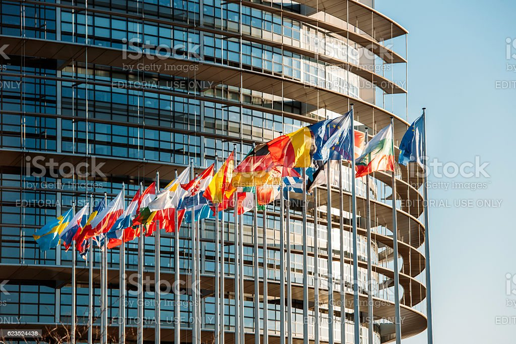 European Parliament frontal flags stock photo