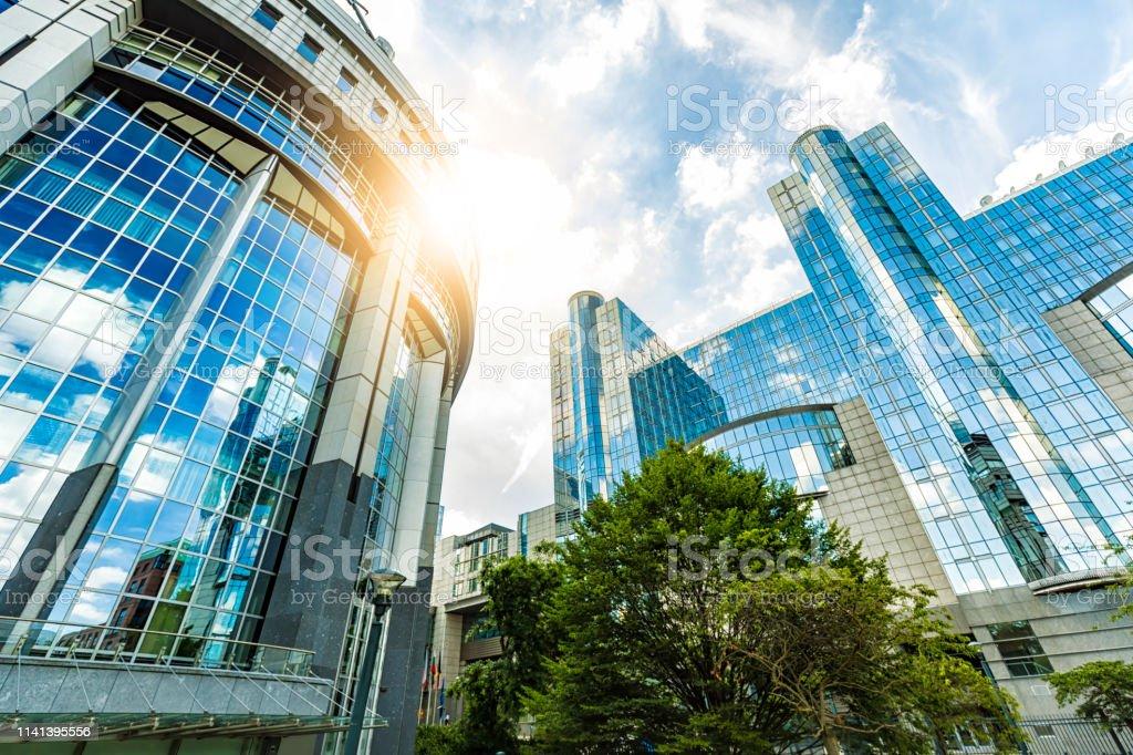 Europäisches Parlament in Brüssel - Lizenzfrei Außenaufnahme von Gebäuden Stock-Foto