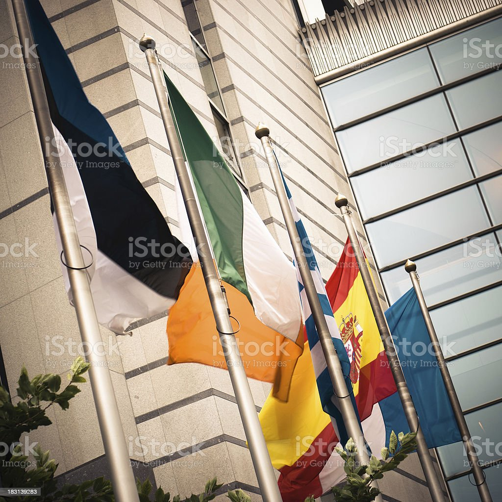 European Parliament in Brussels - National Flag royalty-free stock photo