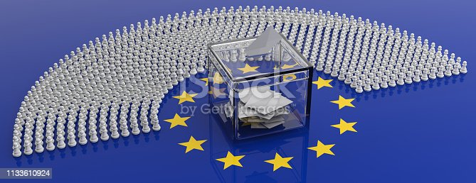 istock European parliament members as pawns and a voting box on EU flag, 3d illustration 1133610924
