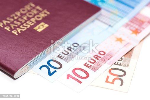 istock European Passport and Euro on white 495782425