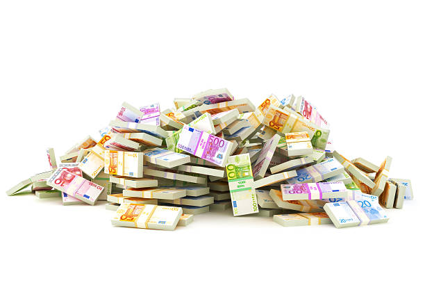 European pile of money  stacks of 10's, 20's, 50's, 100's, 500's in Europeans currency on a white background. Saving or dept concept. european currency stock pictures, royalty-free photos & images