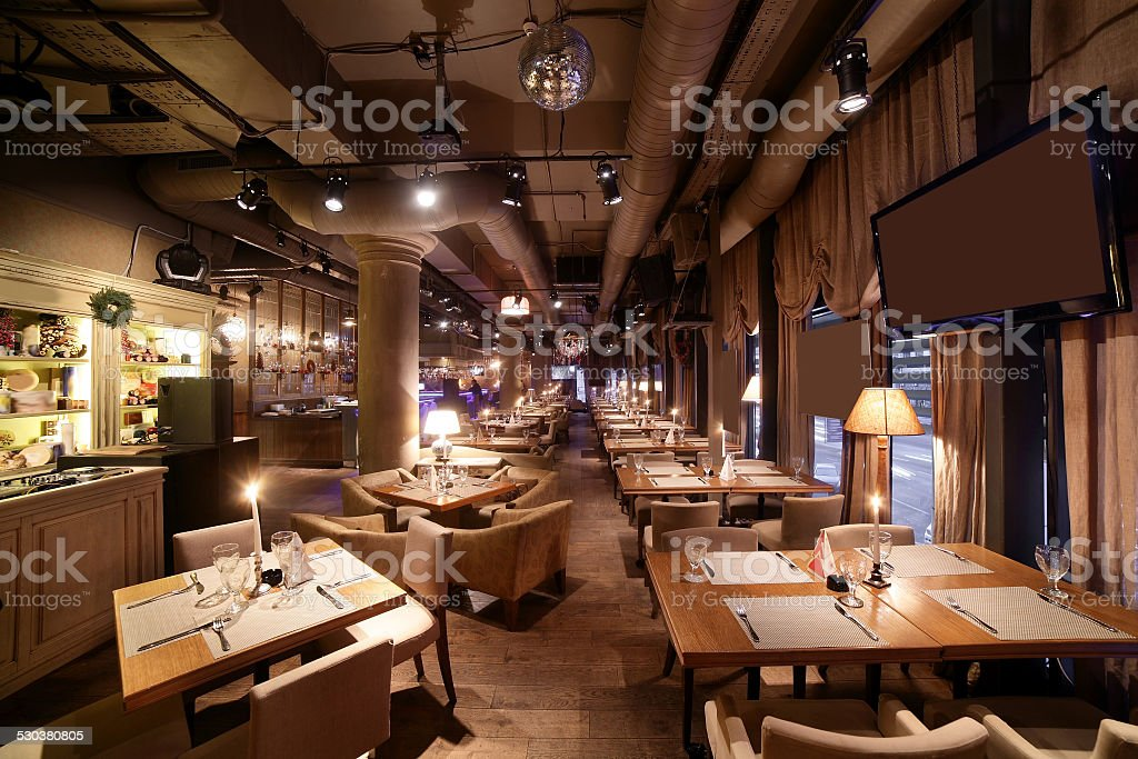 european restaurant in bright colors beautiful brand new european restaurant in downtown Alcohol - Drink Stock Photo