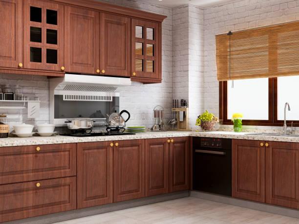 europäische rustikale küche-design-renderings - schrank stock-fotos und bilder