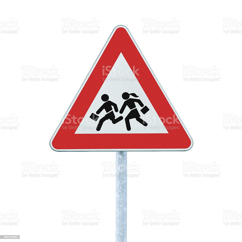 European School Crossing Roadside Warning Sign, Isolated Large Closeup stock photo
