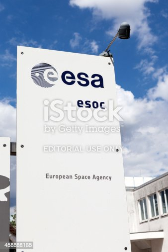 Darmstadt, Germany - August 13, 2013: Entrance and logo of European Space Operations Centre. The European Space Operations Centre (ESOC) is the main mission control centre for the ESA (European Space Agency)