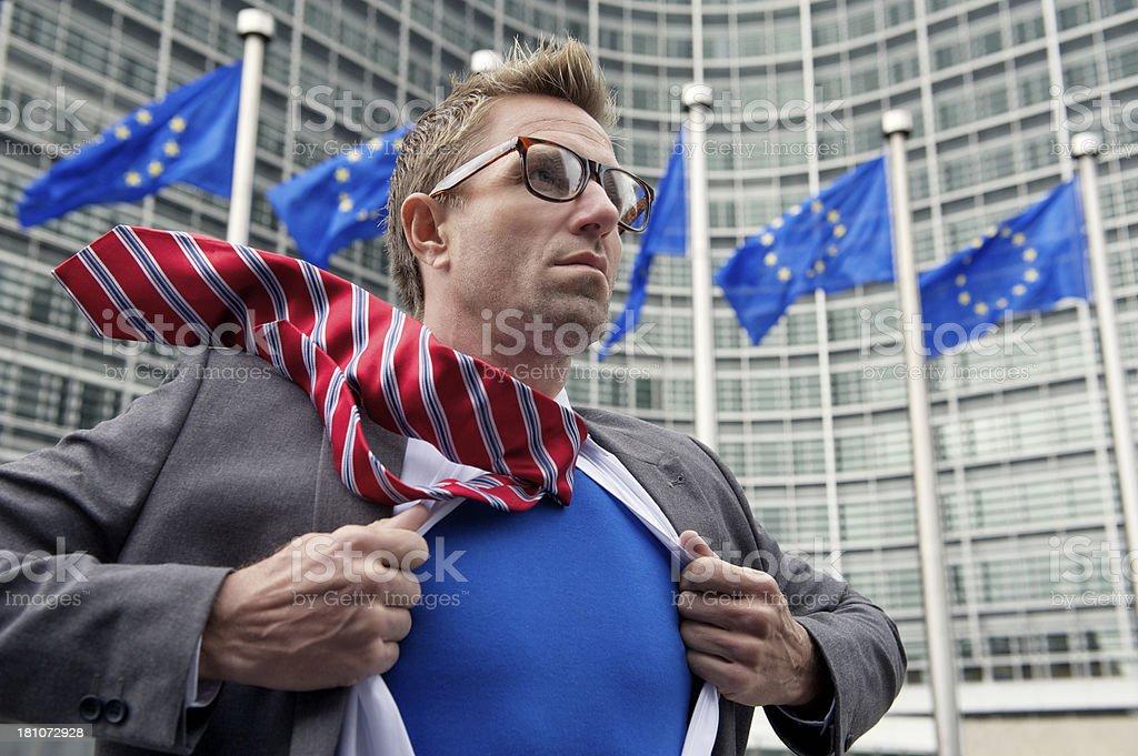 European Superhero Businessman Gets Ready to Save Europe royalty-free stock photo