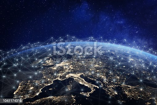 European telecommunication network connected over Europe, France, Germany, UK, Italy, concept about internet and global communication technology for finance, blockchain or IoT, elements from NASA (https://eoimages.gsfc.nasa.gov/images/imagerecords/57000/57752/land_shallow_topo_2048.jpg)