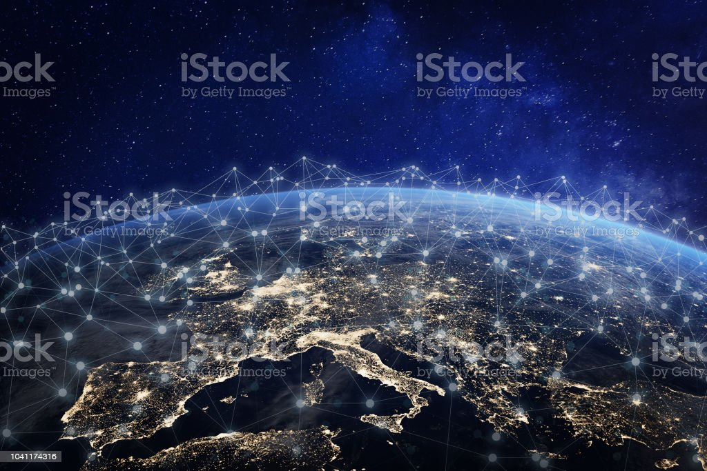 European telecommunication network connected over Europe, France, Germany, UK, Italy, concept about internet and global communication technology for finance, blockchain or IoT, elements from NASA stock photo