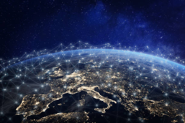 European telecommunication network connected over Europe, France, Germany, UK, Italy, concept about internet and global communication technology for finance, blockchain or IoT, elements from NASA European telecommunication network connected over Europe, France, Germany, UK, Italy, concept about internet and global communication technology for finance, blockchain or IoT, elements from NASA (https://eoimages.gsfc.nasa.gov/images/imagerecords/57000/57752/land_shallow_topo_2048.jpg) telecommunications equipment stock pictures, royalty-free photos & images