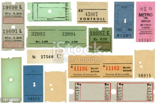 Fourteen different vintage tickets, mostly from European subways, Metro, trains, and museums. Some have blank areas for you to add your own type.