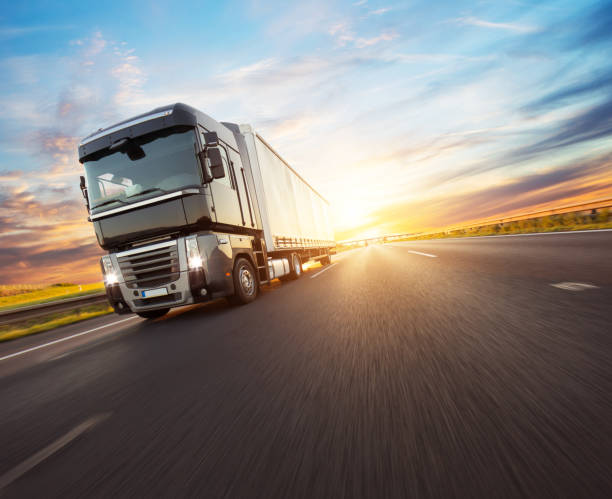 European truck vehicle with dramatic sunset light stock photo