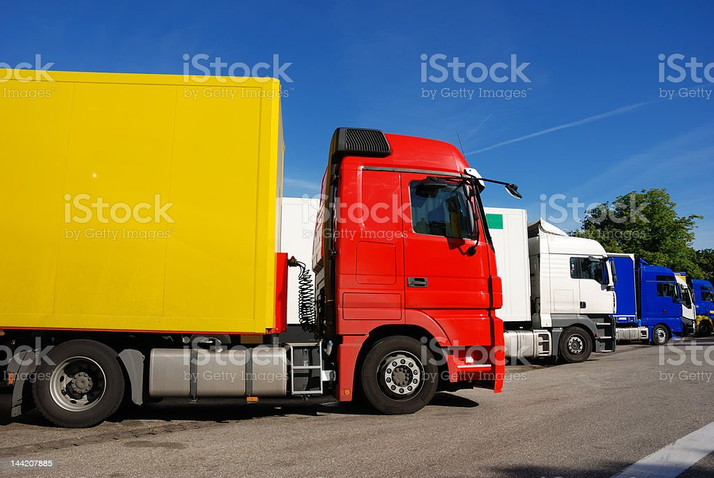 european trucks standing in a row at rest area, Germany royalty-free stock photo