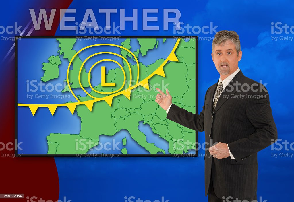European TV news weather meteorologist reporting stock photo