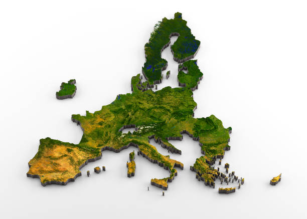 european union (post-brexit) 3d physical map with relief - europe map stock photos and pictures