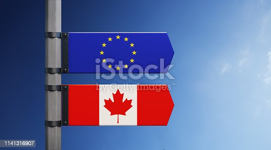 European Union and Canadian flag pair on directional sign. Horizontal composition with copy space.