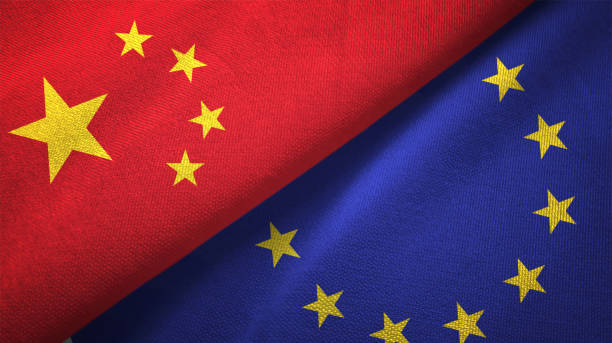 European Union and China two flags together realations textile cloth fabric texture stock photo