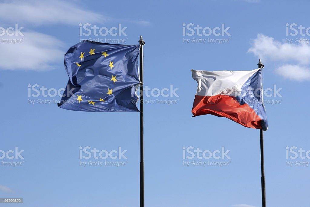 European Union and Czech Republic royalty-free stock photo