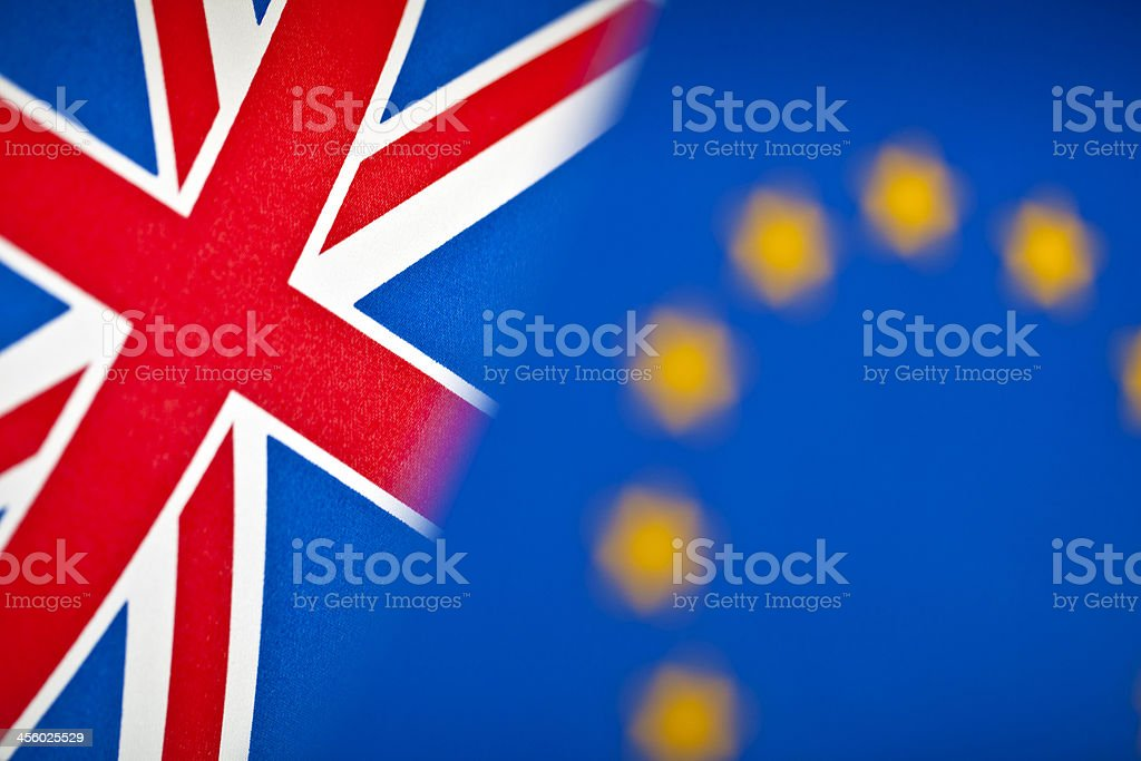 European Union and Great Britain flags stock photo