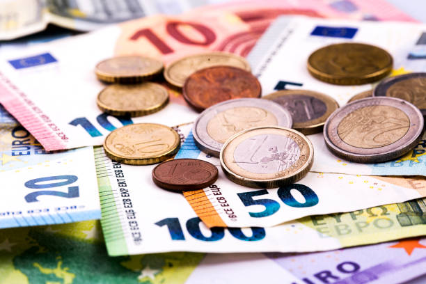European Union banknotes and coin European Union banknotes and coin bringing home the bacon stock pictures, royalty-free photos & images