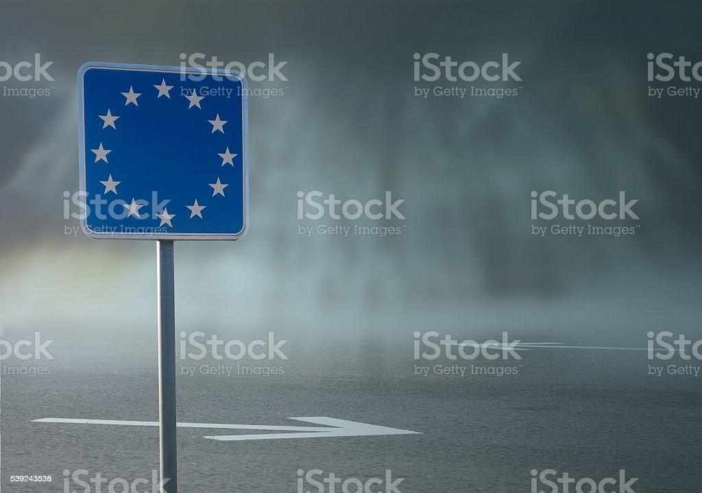 European Union border sign on road background royalty-free stock photo