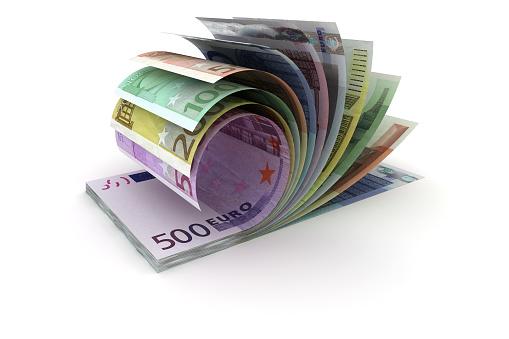European union currency bundle - 3d visualization