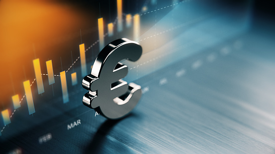 European Union Currency Symbol Standing On Wood Surface In Front Of A Graph Stock Photo - Download Image Now