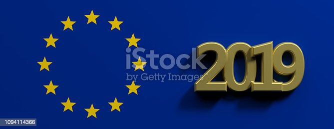 1126684642 istock photo European Union election. Gold 2019 number and a a golden stars circle on blue background. 3d illustration 1094114366