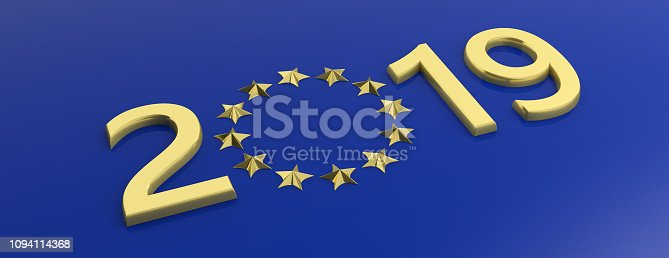 1126684642 istock photo European Union election. Gold 2019 number and a a golden stars circle on blue background. 3d illustration 1094114368