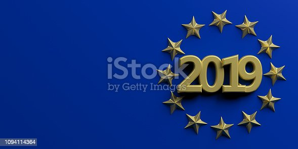 1126684642 istock photo European Union election. Gold 2019 number in a a golden stars circle on blue background. 3d illustration 1094114364