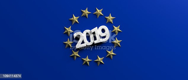 1126684642 istock photo European Union election. White 2019 number in a a golden stars circle on blue background. 3d illustration 1094114374