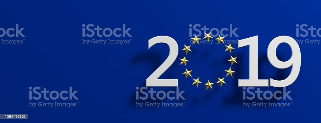 European Union election. White 2019 number with a golden stars circle on blue background. 3d illustration royalty-free stock photo
