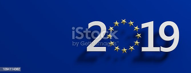 1126684642 istock photo European Union election. White 2019 number with a golden stars circle on blue background. 3d illustration 1094114362