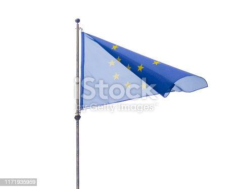 European Union EU flag waving on flagpole on isolated white background