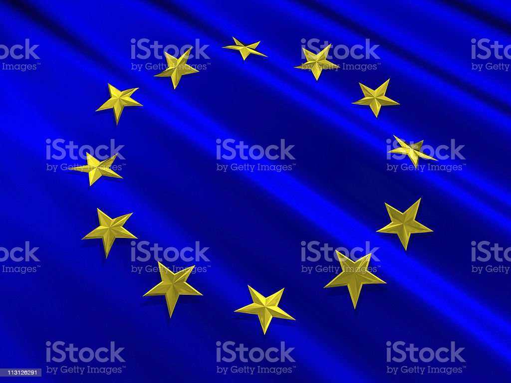 European Union Flag 3D Stars royalty-free stock photo