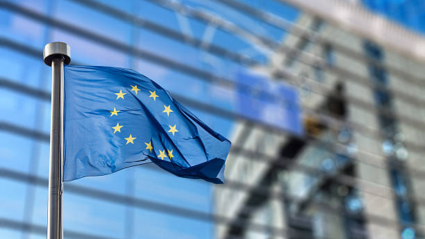 European Union flag against European Parliament European Union flags in front of the blurred European Parliament in Brussels, Belgium european union currency stock pictures, royalty-free photos & images