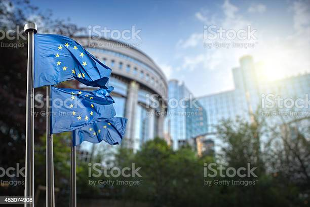 Photo of European union flag against parliament in Brussels