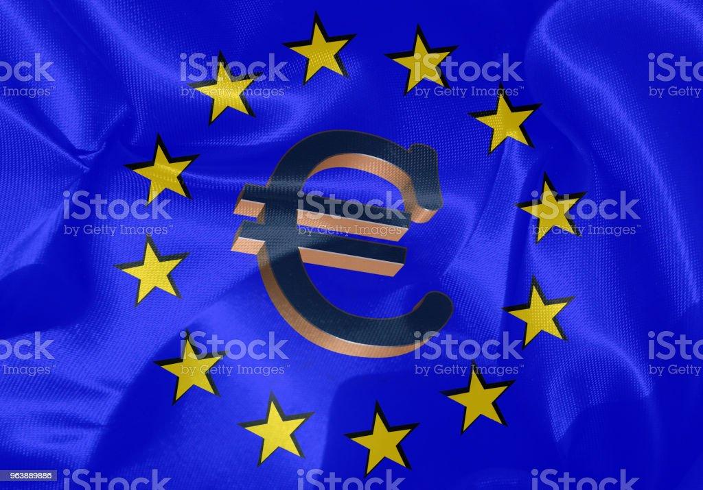 European Union  Flag and symbol of the Euro - Royalty-free Agreement Stock Photo