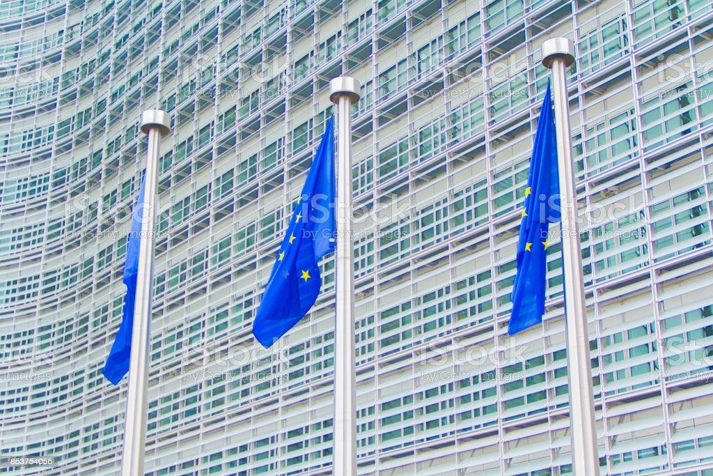 European Union flag at European Commission Headquarters stock photo
