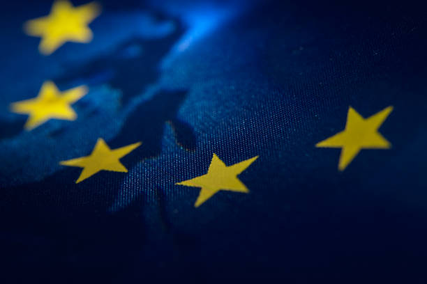 European Union Flag banner Abstract view of European Union Flag banner european union currency stock pictures, royalty-free photos & images
