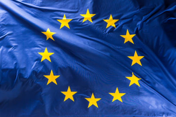European Union flag.  EU Flag blowing in the wind stock photo