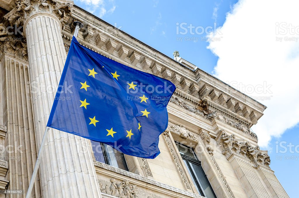 European Union flag flying outside Brussels Bourse stock photo