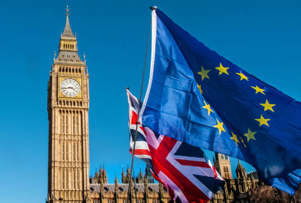 European Union flag in front of Big Ben, Brexit EU stock photo