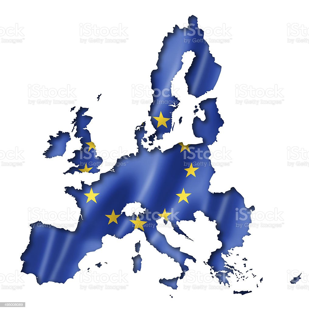 European union flag map stock photo