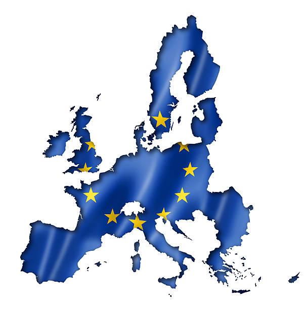 Drapeau de l'union européenne, carte - Photo