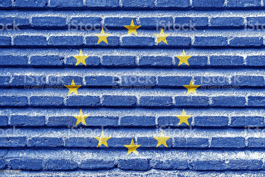 European Union flag on an old brick wall royalty-free stock photo