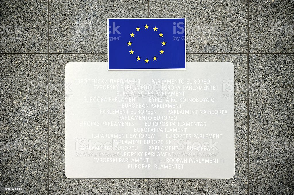 European Union Flag on Building at Parliament royalty-free stock photo